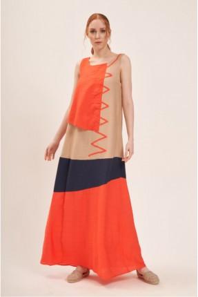 فستان سبور حفر ملون