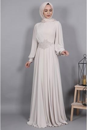 فستان رسمي مزين من الخصر