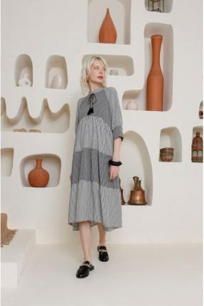 فستان سبور نصف كم - اسود