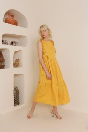 فستان سبور مقلم - اصفر