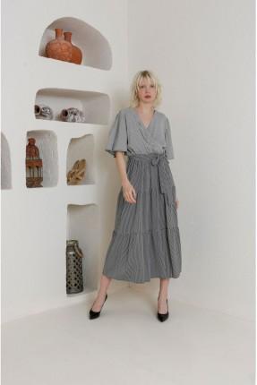 فستان سبور بياقة V - اسود