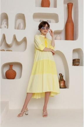 فستان سبور بربطة على الياقة  - اصفر