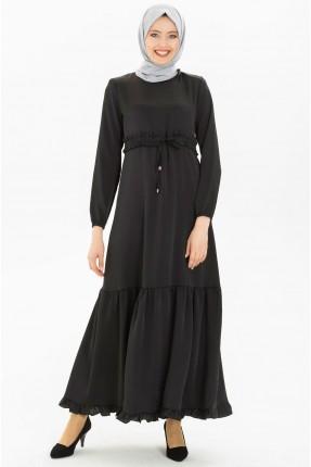 فستان نسائي بربطة عند الخصر - اسود