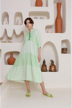 فستان سبور بربطة على الياقة - اخضر