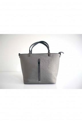 حقيبة يد نسائية مزينة بسحاب - فضي