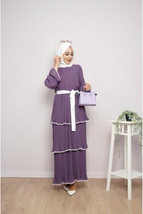 فستان باكمام طويلة مزين بطيات - بنفسجي