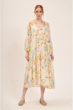 فستان سبور موردة - اصفر