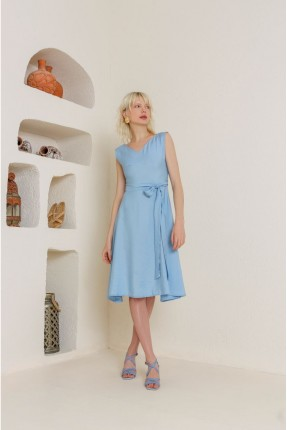 فستان سبور سادة - ازرق