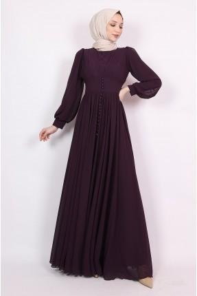 فستان رسمي مزين بازرار