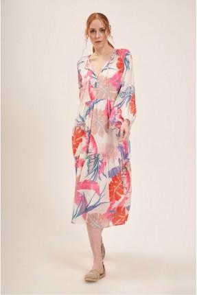 فستان سبور بطبعة اوراق شجر ملونة