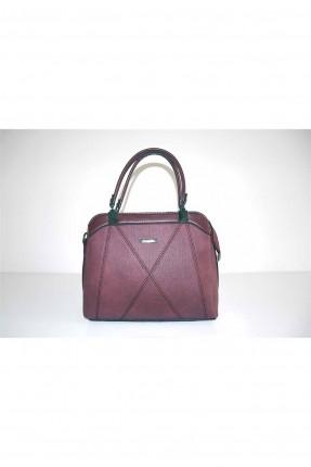 حقيبة يد نسائية بنقشة - بوردو