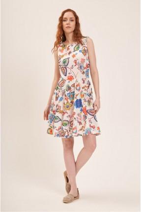 فستان سبور بطبعة ورود ملونة