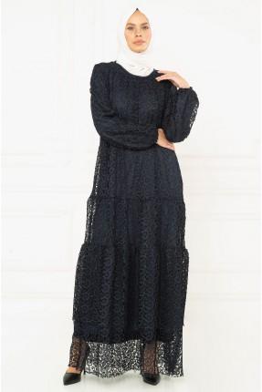 فستان نسائي رسمي دانتيل - كحلي
