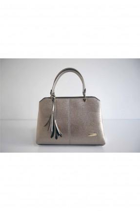 حقيبة يد نسائية مزينة بشراشيب - فضي