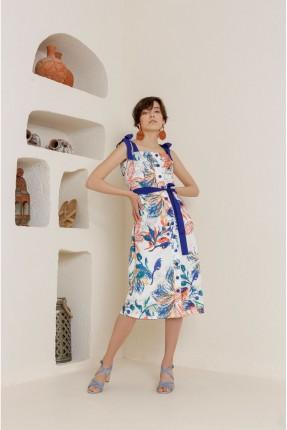 فستان سبور بطبعة اوراق شجر ملونة - ازرق