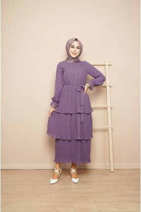 فستان طويل موديل طبقات - بنفسجي