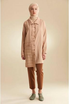 قميص نسائي سادة اللون بازرار