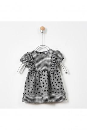 فستان بيبي بناتي بنقشة قلوب - رمادي