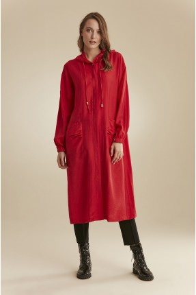 بالطو نسائي بجيب سادة اللون - احمر