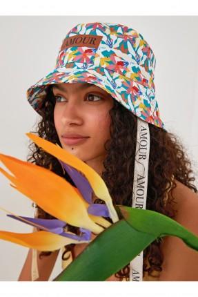 قبعة نسائية بنقشة زهور ملونة
