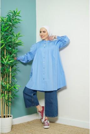 قميص نسائي عريض - ازرق