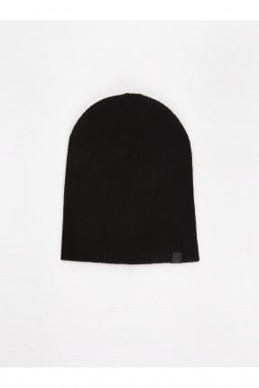 قبعة رجالية تريكو سادة اللون - اسود