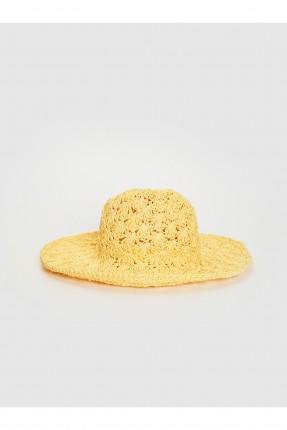 قبعة نسائية قش سادة اللون - اصفر