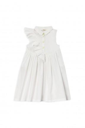 فستان اطفال بناتي مزين بكشكش - ابيض