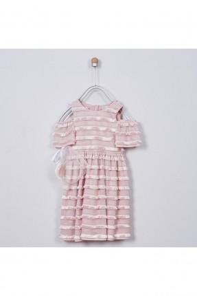 فستان اطفال بناتي بشراشيب - زهري