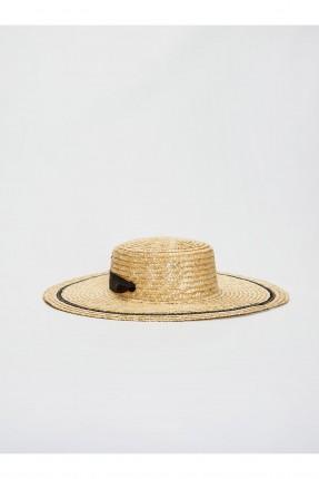 قبعة نسائية مزينة بشريط - بيج