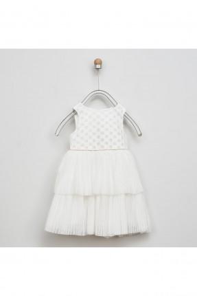 فستان اطفال بناتي شيك مزين بالتول - ابيض