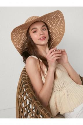 قبعة نسائية مفرغة - بني