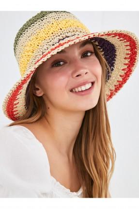 قبعة نسائية قش ملونة