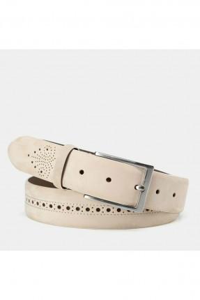 حزام رجالي بنقشة زخرفة - بيج