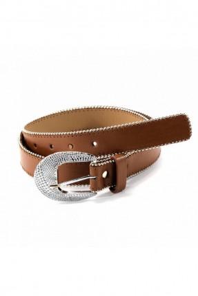 حزام نسائي جلد مزين بقطع معدنية - بني