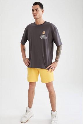 شورت رجالي رياضي سادة اللون - اصفر
