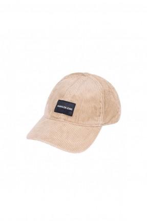 قبعة رجالية بكتابة - بيج