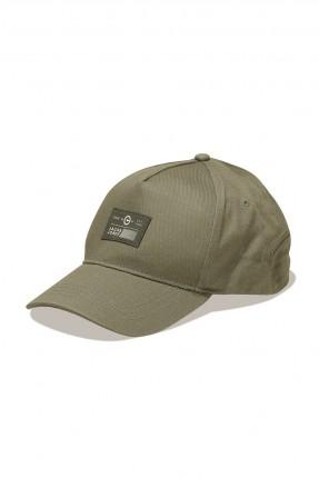 قبعة رجالية مزينة بخطوط درزة - زيتي