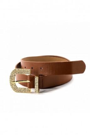 حزام نسائي جلد ببكلة معدنية - بني