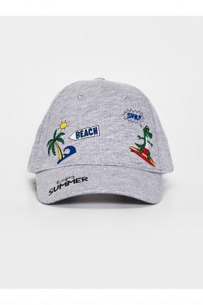 قبعة اطفال ولادي بطبعة ديناصور - رمادي