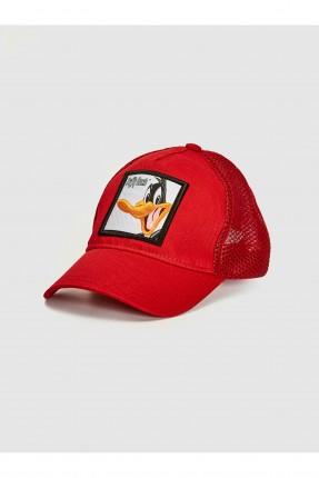 قبعة اطفال ولادي بطبعة دافي داك - احمر
