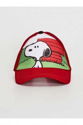 قبعة اطفال ولادي بطبعة سنوبي - احمر