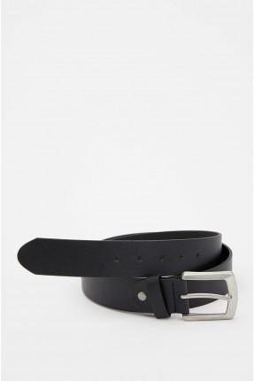 حزام رجالي سادة - اسود