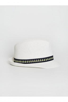 قبعة اطفال ولادي قش بنقشة - ابيض