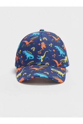 قبعة اطفال ولادي بطبعة ديناصور - كحلي
