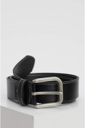 حزام رجالي سادة اللون جلد - اسود