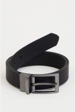 حزام رجالي ذو وجهين - اسود