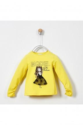 كنزة اطفال بناتي مزينة برسمة فتاة - اصفر