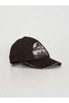 قبعة اطفال ولادي بطبعة ديناصور - اسود