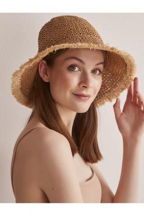 قبعة نسائية قش سادة اللون - بيج